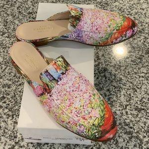 ANN MASHBURN Monet Floral Leather Mules Sz 41/10
